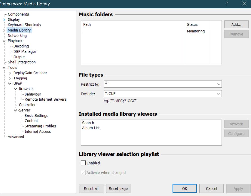 foobar2000のメディアライブラリーの設定